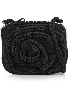 Valentino Braid-trimmed small suede shoulder bag