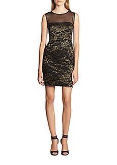 Diane von Furstenberg Nisha Metallic Lace & Mesh Dress