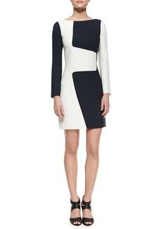 Michael Kors Wool Puzzle Shift Two-Tone Dress, Optic White