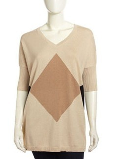 Joan Vass Diamond-Knit Slouchy Sweater, Birch Combo