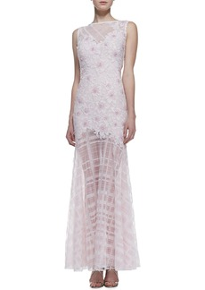 Tadashi Shoji Sleeveless Floral Embroidered-Bodice Gown, Pale Pink