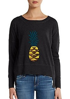 French Connection Sequin-Pineapple Hi-Lo Pullover