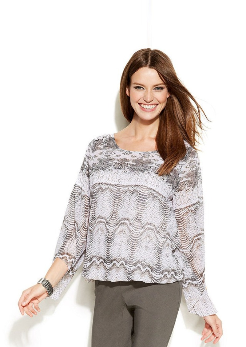 Alfani Petite Flutter-Sleeve Printed Bubble-Hem Top
