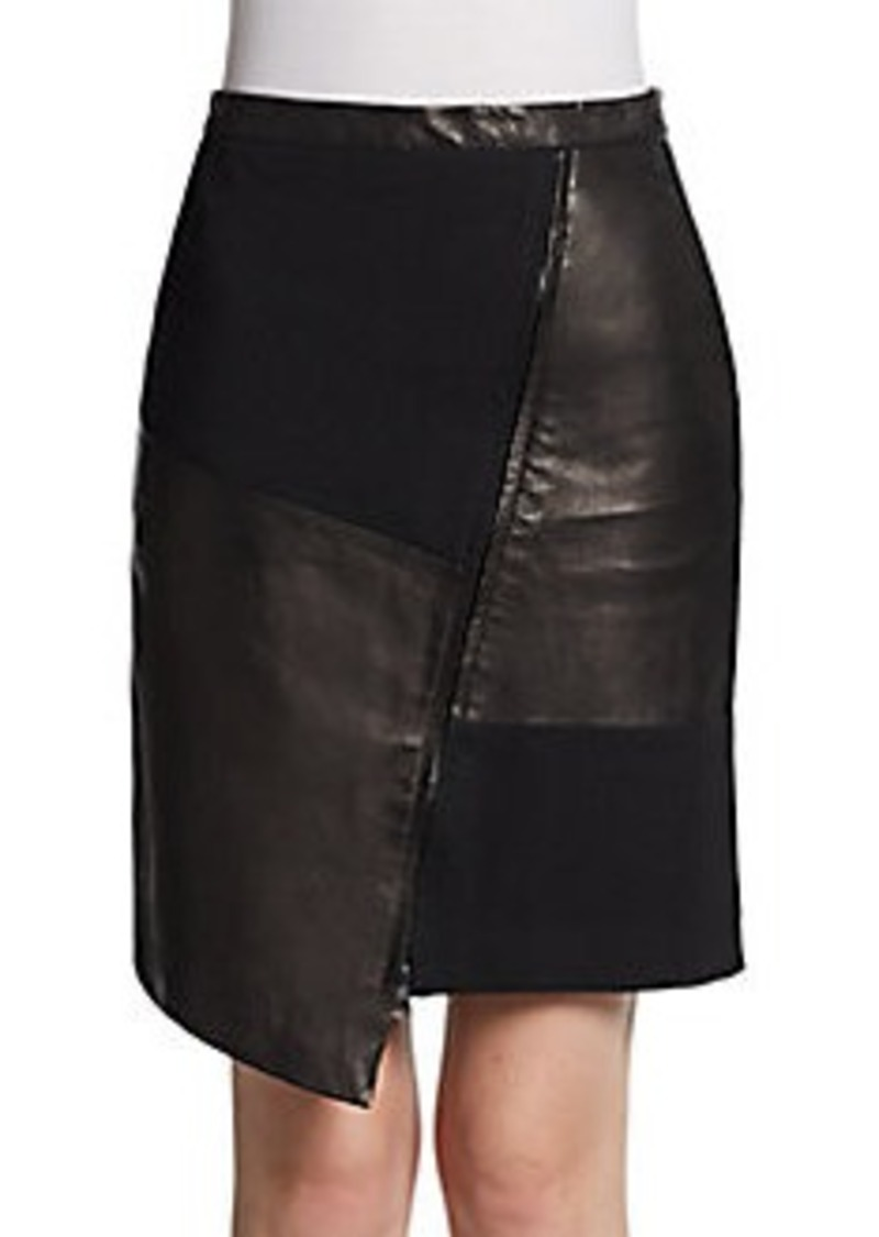 tibi tibi asymmetric leather combo skirt skirts shop