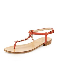 Pelle Moda Bayou Leather T-Strap Sandal, Persimmon
