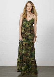 Ruched Camo Cotton Maxidress