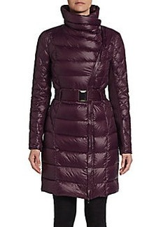 Saks Fifth Avenue BLUE Belted Asymmetrical Puffer Jacket