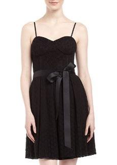 Isaac Mizrahi Eyelet Fit-and-Flare Dress, Black