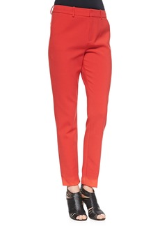 J Brand Ready to Wear Marianne Slim Flat-Front Trousers, Masai Red
