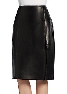 Calvin Klein Collection Leather Wrap-Around Skirt
