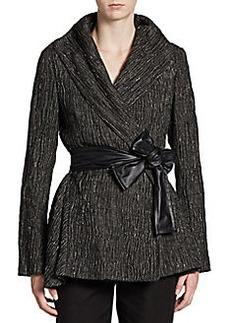 Lafayette 148 New York Faux Leather-Sash Crinkled Jacket
