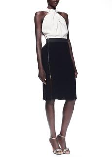 Lanvin Twist-Halter Colorblock Dress, Taupe/Black