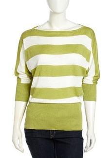 Lafayette 148 New York Striped Bateau-Neck Sweater, Pear