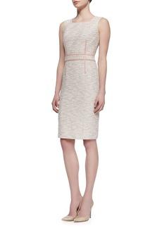 David Meister Sleeveless Square-Neck Tweed Dress, Pink/Multicolor