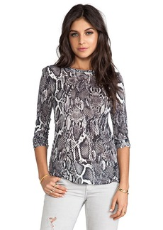Velvet by Graham & Spencer Lily Aldridge for Velvet Aldridge Lisa Snake Print Top in Charcoal