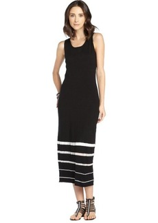 Marc New York black and cream stretch sheer striped pattern maxi dress