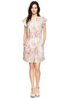 Pleated floral shirtdress