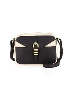 Linea Pelle Hayden Colorblocked Leather Crossbody Bag, Black/Nude