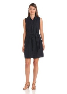 Three Dots Red Women's Shirt Dress With Tie