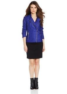 Calvin Klein Women's Faux Leather Moto Jacket