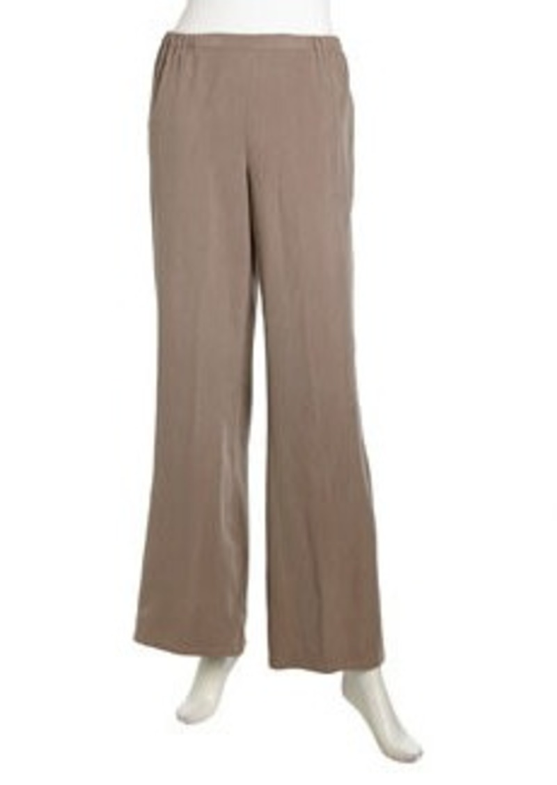 Go Silk Relaxed Pull-On Silk Pants, Taupe