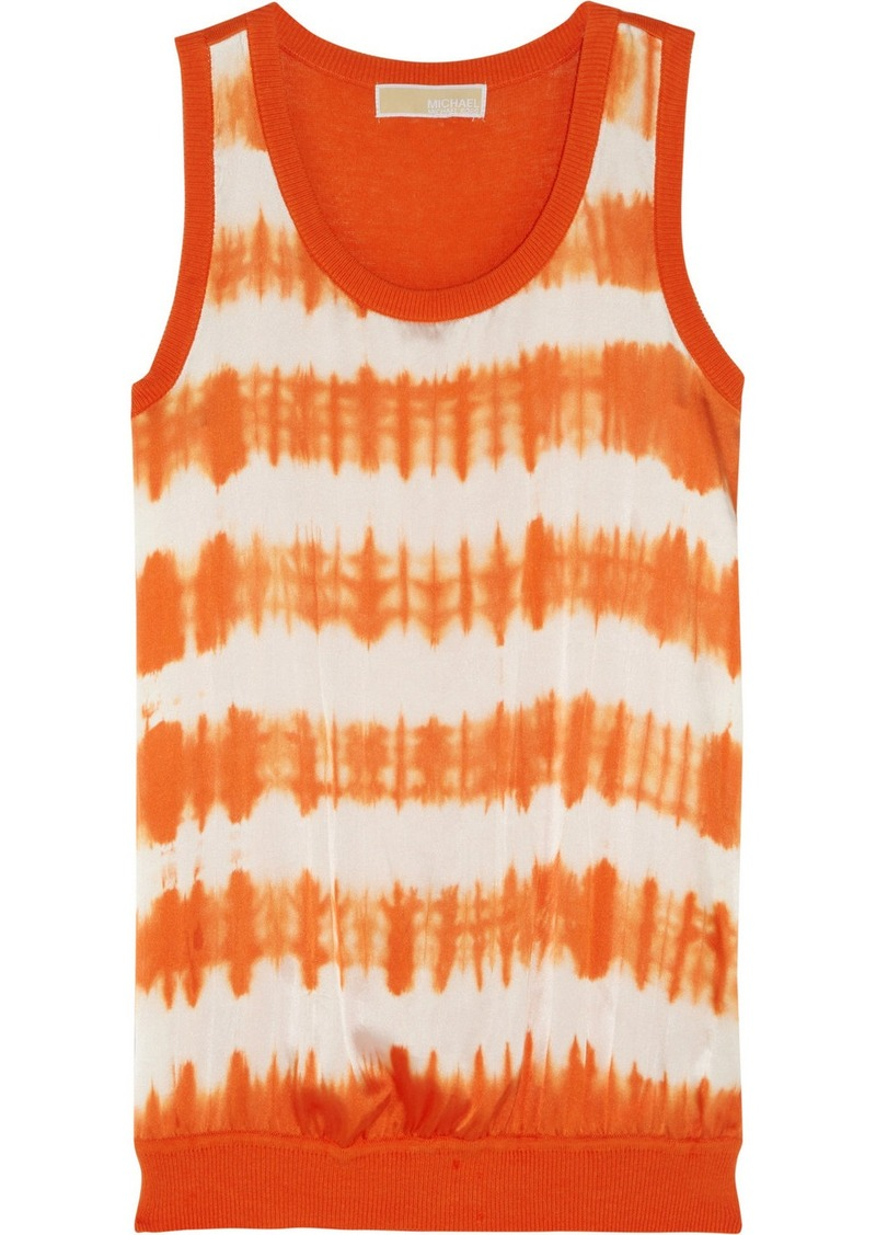 MICHAEL Michael Kors Tie-dyed stretch-silk and cotton-blend tank