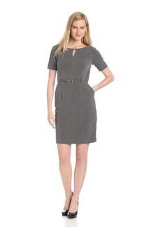 Ellen Tracy Women's Short Sleeve Belted Slit Neck Dress