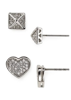 ABS by Allen Schwartz Modern Pave Heart Stud Earrings Duo