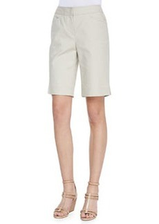Lafayette 148 New York Metro Stretch Bermuda Shorts, Khaki