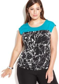Calvin Klein Plus Size Cap-Sleeve Marble-Print Top