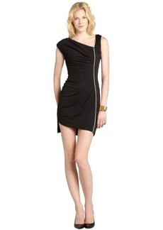 A.B.S. by Allen Schwartz black stretch asymmetrical neckline jersey dress