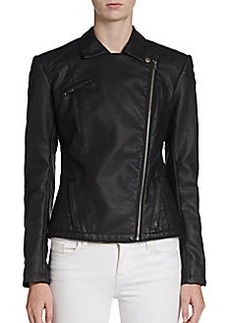French Connection Roller Girl Faux Leather Moto Jacket