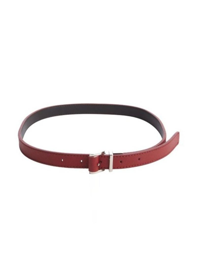 Calvin Klein red faux leather 'Saffiano' medium reversible belt
