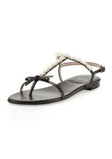 Pearlize Beaded Leather Thong Sandal, Black   Pearlize Beaded Leather Thong Sandal, Black