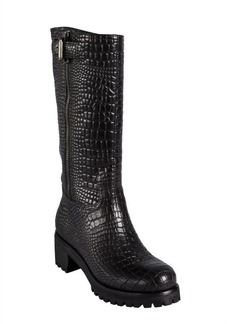 Prada Sport black corc embossed leather zip buckle strapped boots