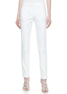 Michael Kors Eva Broadcloth Utility Pants, Optic White