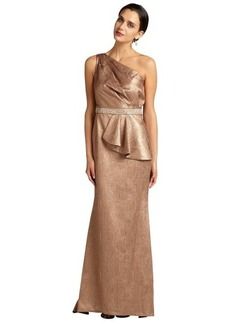Carmen Marc Valvo metallic bronze brocade one shouler train hem evening gown