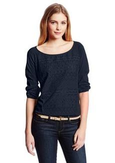 Lucky Brand Women's Schiffli Front Raglan Top
