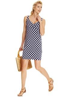 Charter Club Petite Sleeveless Empire-Waist Polka-Dot Dress