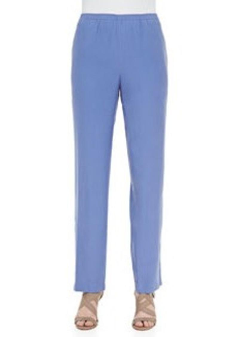 Go Silk Solid Silk Pants, Blue, Women's