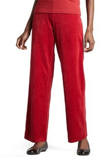 Joan Vass Velour Straight-Leg Pants