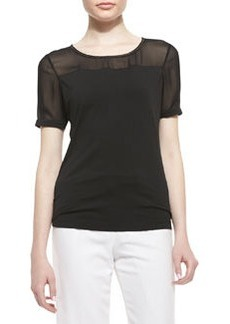 Lafayette 148 New York Short-Sleeve Jersey & Georgette Tee