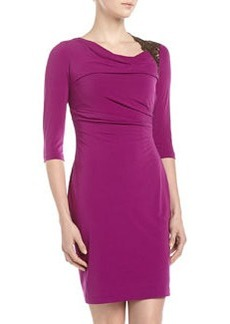 Kay Unger New York Asymmetric-Neck Ruched Dress, Purple