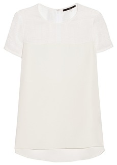 Tibi Open-knit and crepe top