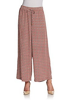 Ellen Tracy Printed Drawstring Palazzo Pants