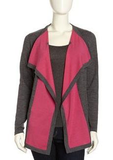 Lafayette 148 New York Fine Gauge Contrast-Front Cardigan, Dark Nickel/Pink
