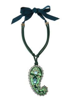Lanvin Long Crystal Paisley Pendant Ribbon Necklace