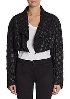 Donna Karan Cropped Leather/Silk Bolero