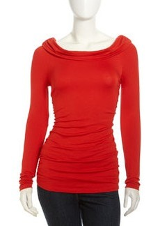 Lafayette 148 New York Ruched Long-Sleeve Jersey Top, Vermilion