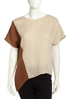 Lafayette 148 New York Enya Two-Tone Linen Top, Beige/Khaki